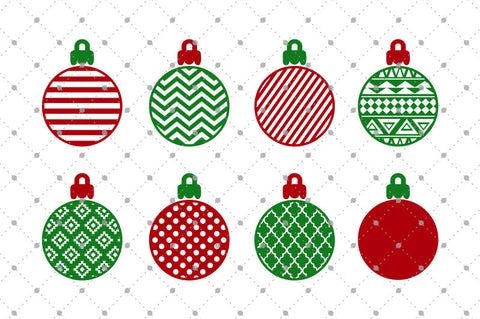 Patterned Christmas Balls SVG Cut Files