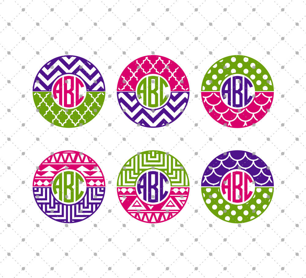 Patterned Circle Monogram Frames SVG Cut Files - SVG Cut Studio