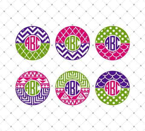 Patterned Circle Monogram Frames SVG Cut Files at SVG Cut Studio