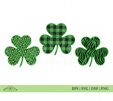 Plaid Leopard Shamrock Clover SVG Files