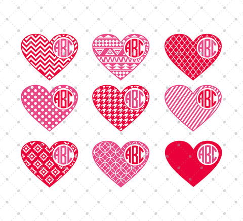 Patterned Hearts Monogram Frames SVG Cut Files