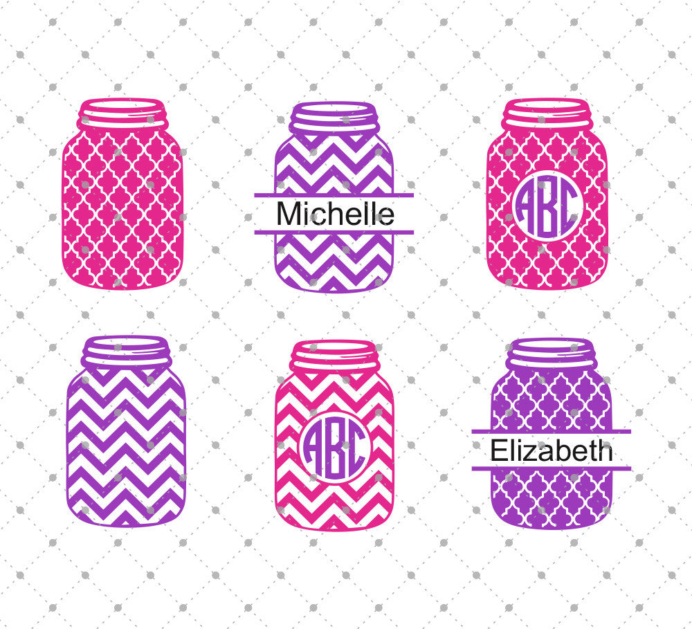 Patterned  Mason Jar SVG Cut Files