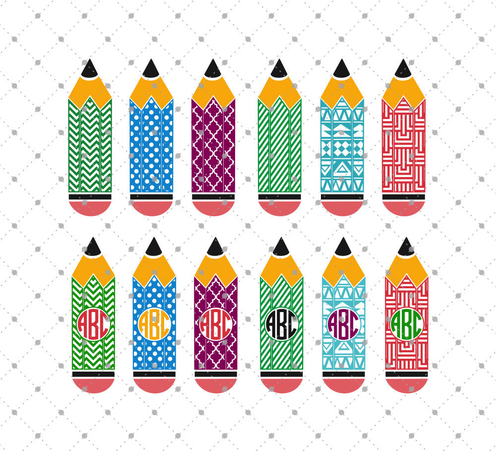 Patterned Pencil SVG Cut Files
