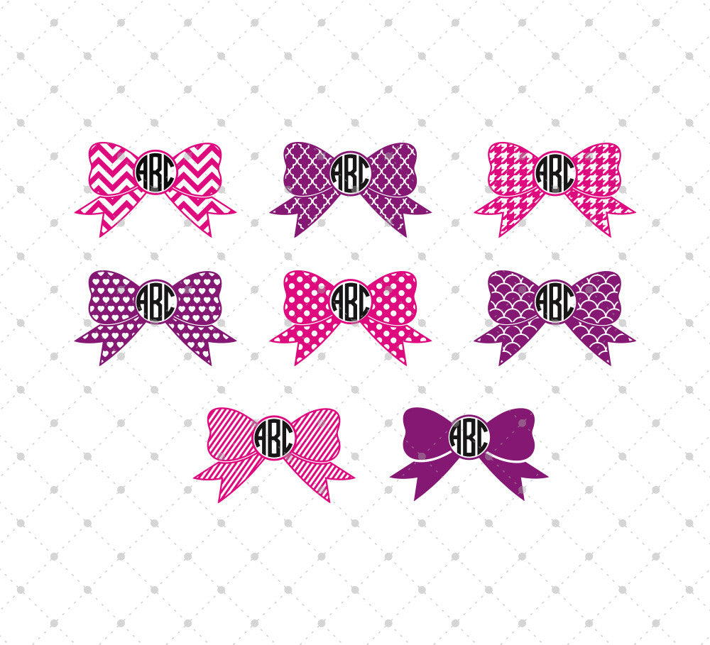 Svg Cut Files For Cricut And Silhouette Patterned Bow Monogram Frames Files Svg Cut Studio