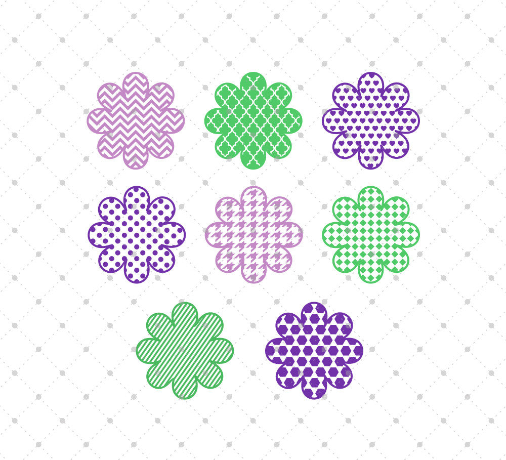 Patterned Flowers SVG Cut Files for Cricut Silhouette printable png dxf clipart and free svg files by SVG Cut Studio