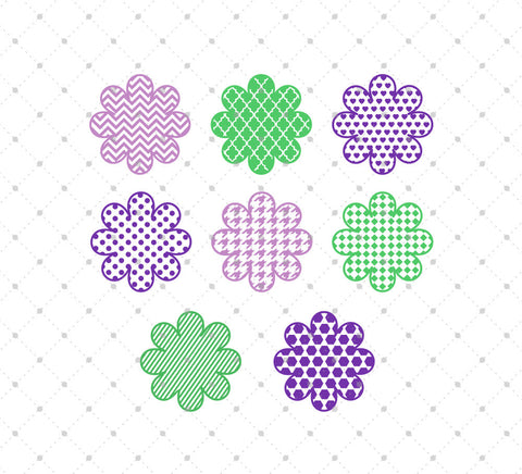 Patterned Flowers SVG Cut Files at SVG Cut Studio
