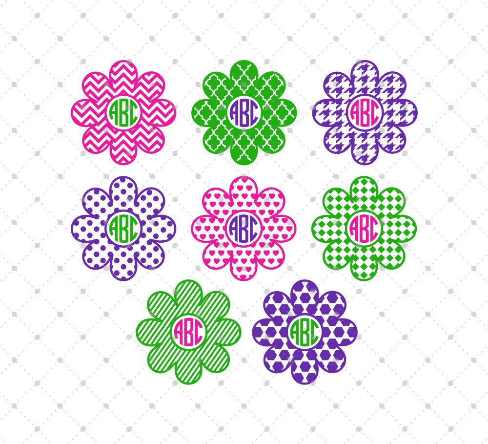 Patterned Flower Monogram Frames SVG Cut Files for Cricut Silhouette printable png dxf clipart and free svg files by SVG Cut Studio