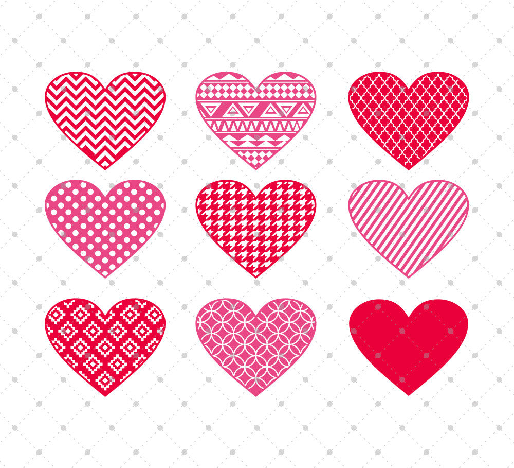 Patterned Hearts SVG Cut Files