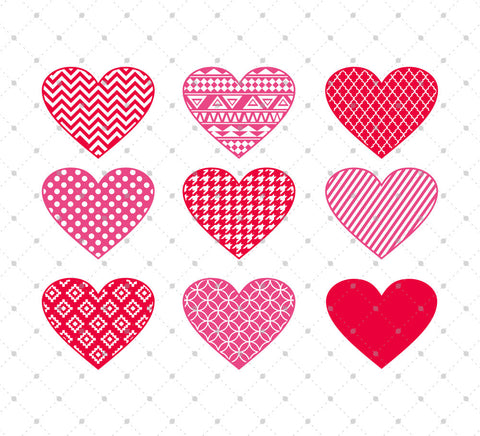 Patterned Hearts SVG Cut Files for Cricut Silhouette printable png dxf clipart and free svg files by SVG Cut Studio
