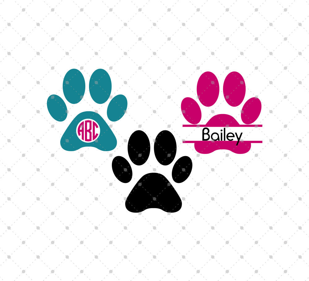 Dog Paw Monogram SVG Files for Cricut Explore Silhouette Cameo Etsy svg files SVG Cut Studio