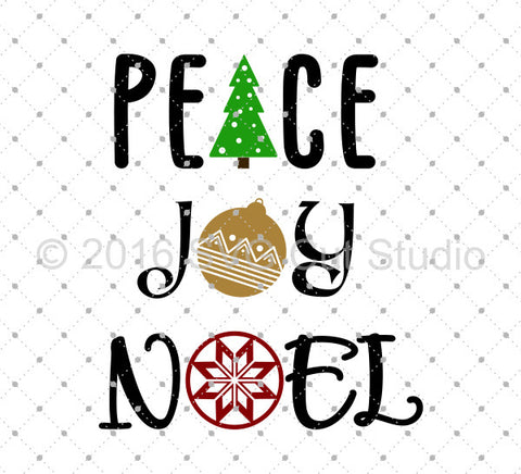 Peace Joy Noel Christmas svg files at SVG Cut Studio