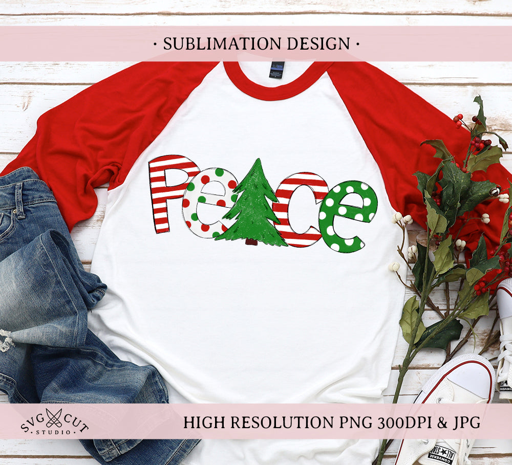 Peace Sublimation Design, Christmas PNG, Hand drawn PNG