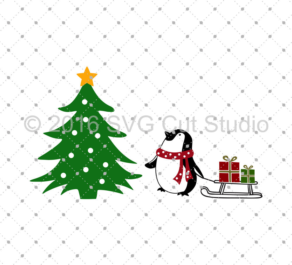 Penguin Christmas SVG Cut files