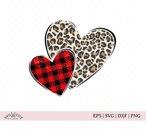 Plaid Leopard Print Hearts Svg