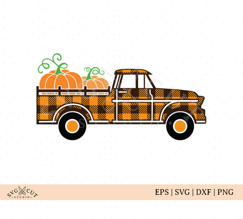 Plaid Vintage Truck SVG, Plaid Fall Truck SVG files