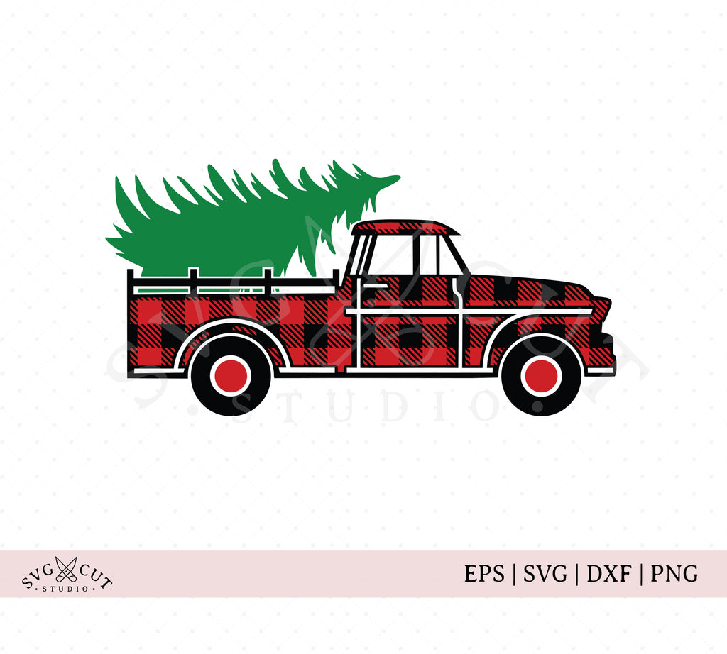 Plaid Christmas Vintage Truck SVG files