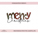 Merry Sublimation Design, Christmas PNG, Hand drawn PNG Plaid doodle letters