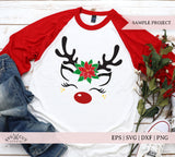 Christmas Poinsettia Reindeer  SVG Files