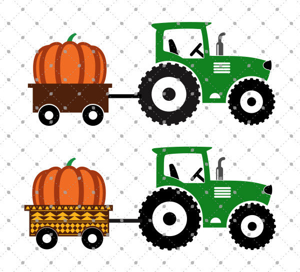 Pumpkin Delivery Tractor SVG Cut Files - SVG DXF PNG cut cutting files for Cricut and Silhouette by SVG Cut Studio