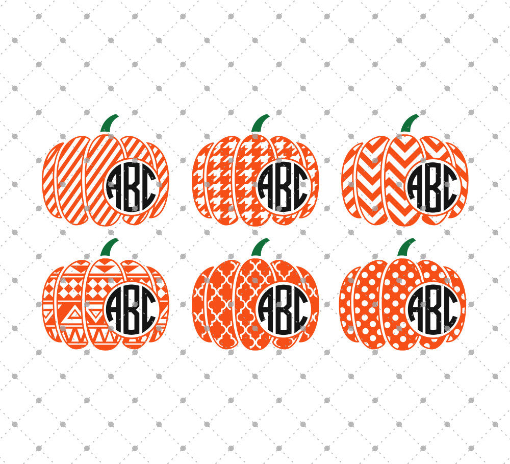 Patterned Pumpkin Monogram Frame SVG Cut Files - SVG Cut Studio