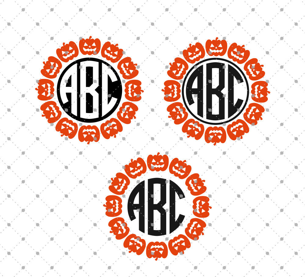 Pumpkin Monogram Frames SVG Cut Files