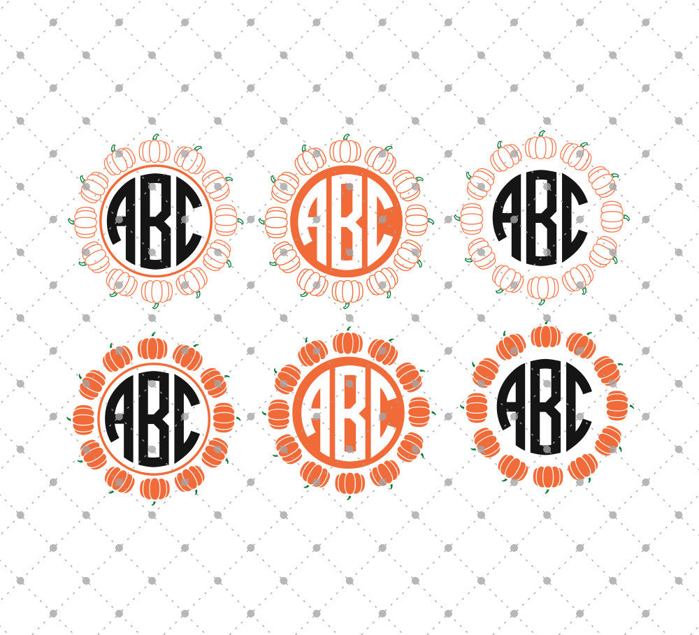 Pumpkin Monogram Frames SVG Cut Files D1 for Cricut Silhouette printable png dxf clipart and free svg files by SVG Cut Studio