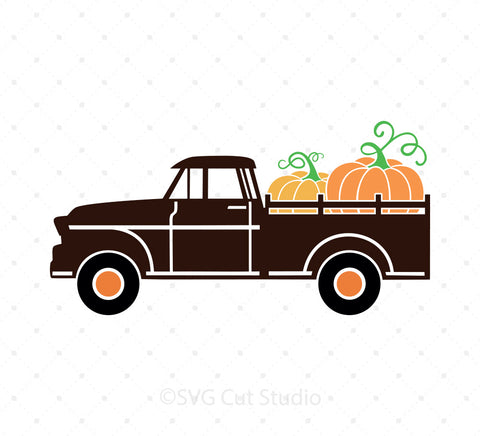 Vintage Pumpkin Fall Truck SVG Cut files