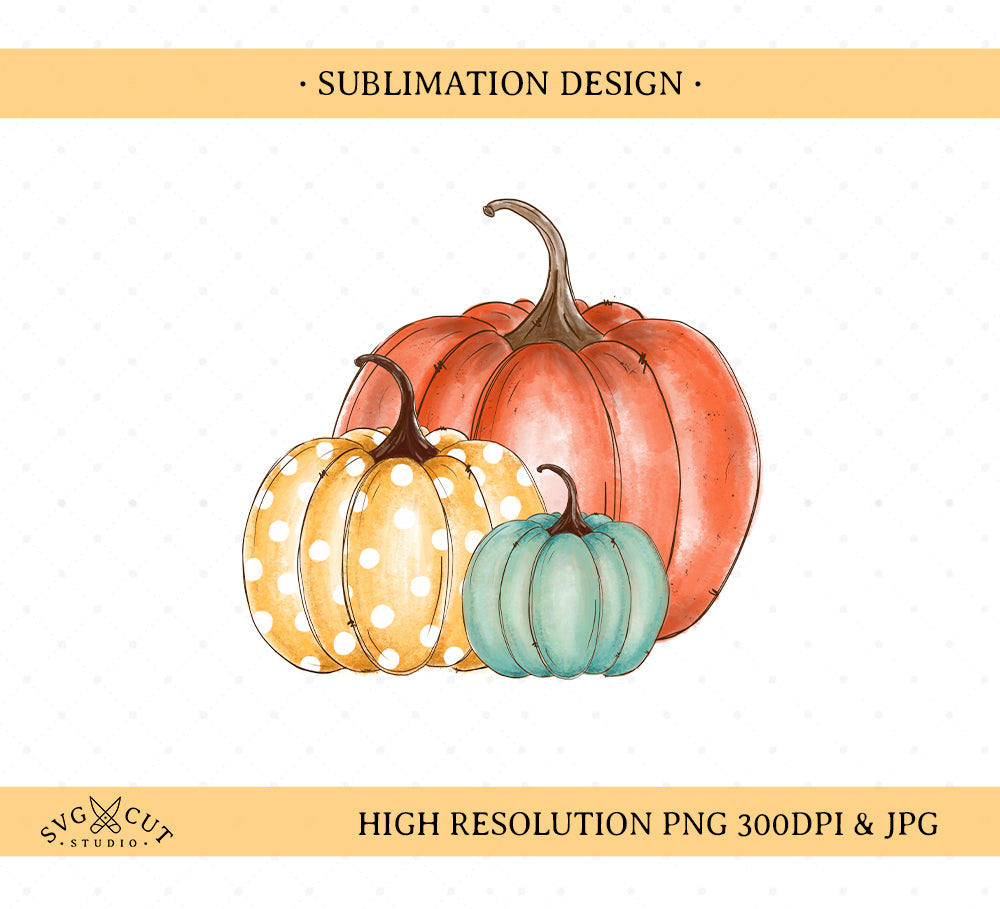 Pumpkin Sublimation Design, Hand drawn Pumpkin, PNG file