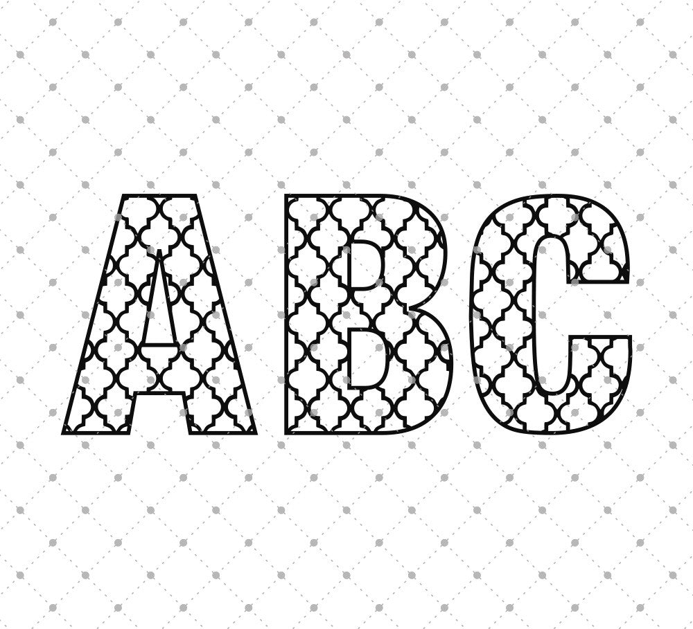 Quatrefoil Alphabet SVG Cut Files for Cricut Silhouette printable png dxf clipart and free svg files by SVG Cut Studio