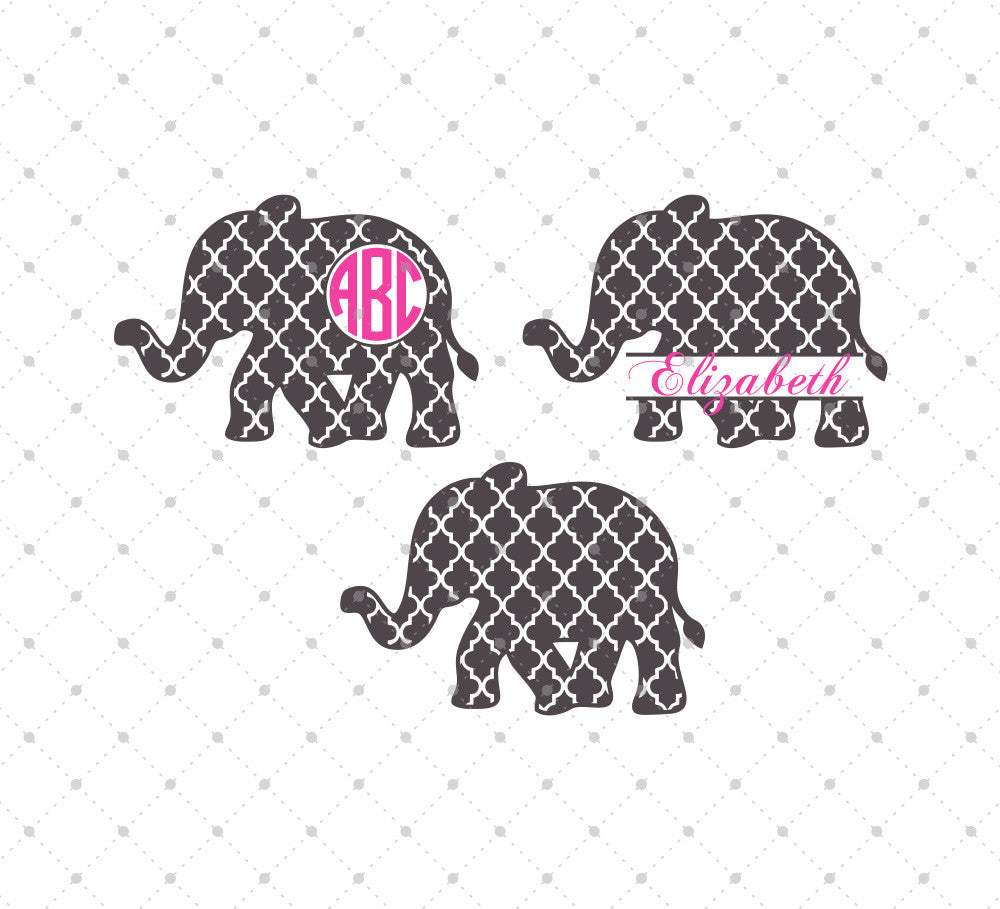Quatrefoil Elephant SVG Cut Files
