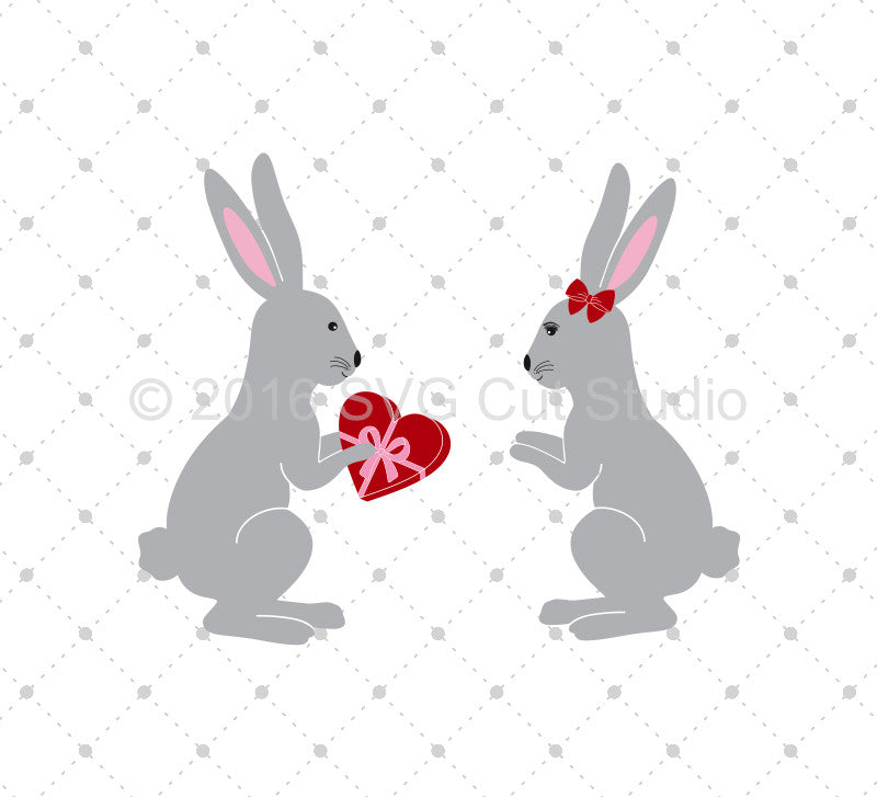 SVG files for Cricut Rabbit in Love SVG Cut Files Silhouette Studio3 files PNG clipart free svg by SVG Cut Studio