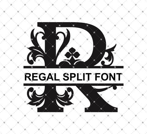 Regal Split Alphabet Cut Files - SVG Cut Studio