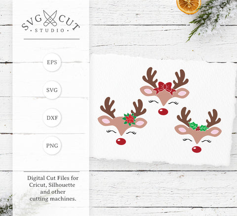 Reindeer Face SVG Cut Files at SVG Cut Studio for Cricut Explore Silhouette Cameo free svg files