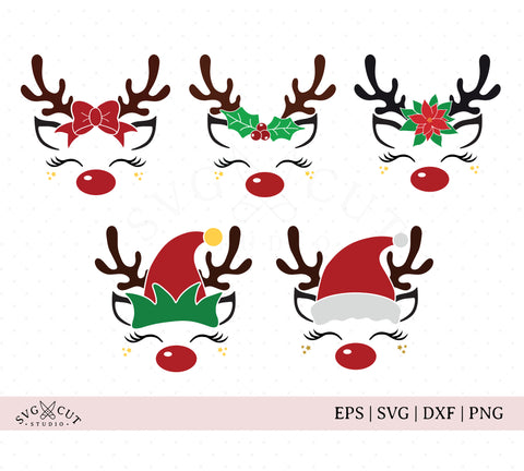Christmas Reindeer Bundle SVG files