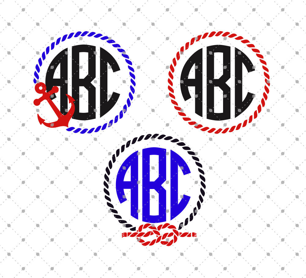 Rope Monogram Frame SVG Cut Files - SVG DXF PNG cut cutting files for Cricut and Silhouette by SVG Cut Studio