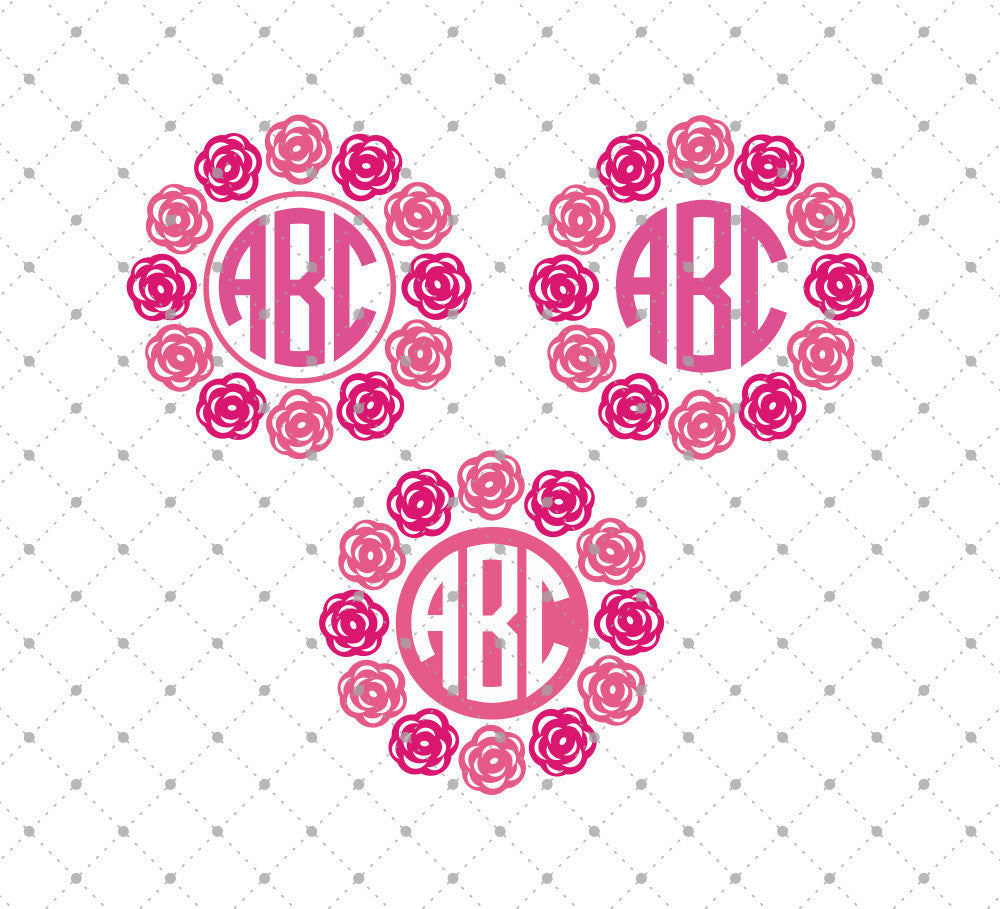 Roses Monogram Frames SVG Cut Files