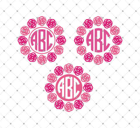 Roses Monogram Frames SVG Cut Files at SVG Cut Studio