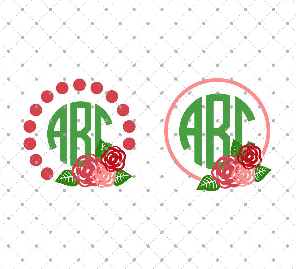 Rose Monogram Frames SVG Cut Files - SVG Cut Studio