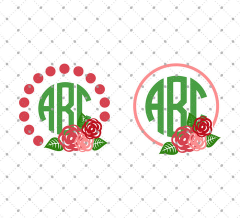 Rose Monogram Frames SVG Cut Files