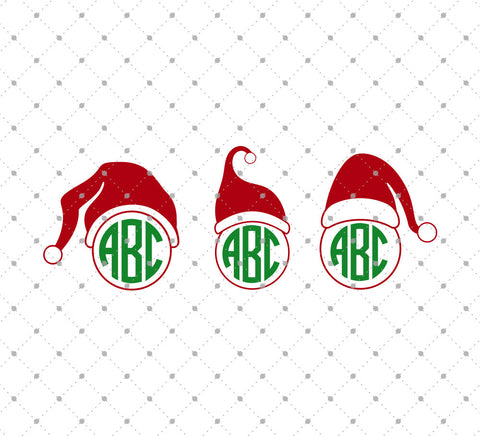 Santa Claus Hat Monogram SVG Cut files - SVG DXF PNG cut cutting files for Cricut and Silhouette by SVG Cut Studio