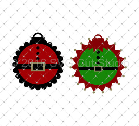 Santa Elf Suit Ornament svg files at SVG Cut Studio