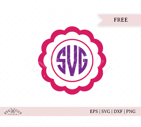 Free Scalloped Circle Monogram Frame SVG Cut Files