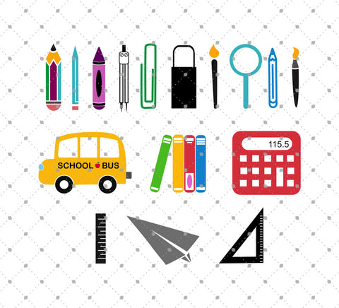 School Items/Tools SVG Cut Files at SVG Cut Studio for Cricut Explore Silhouette Cameo free svg files