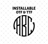 Installable Circle Seal Monogram True Type Font at SVG Cut Studio