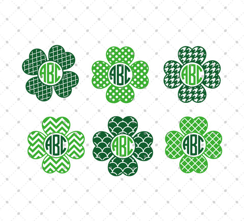 Shamrock Monogram Frame SVG Cut Files #2 for Cricut Silhouette printable png dxf clipart and free svg files by SVG Cut Studio
