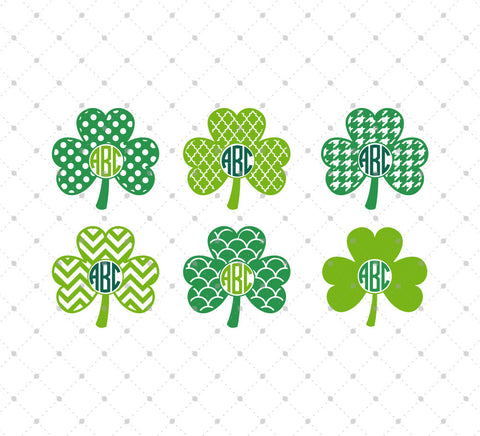 Shamrock Monogram Frame SVG Cut Files #1 for Cricut Silhouette printable png dxf clipart and free svg files by SVG Cut Studio