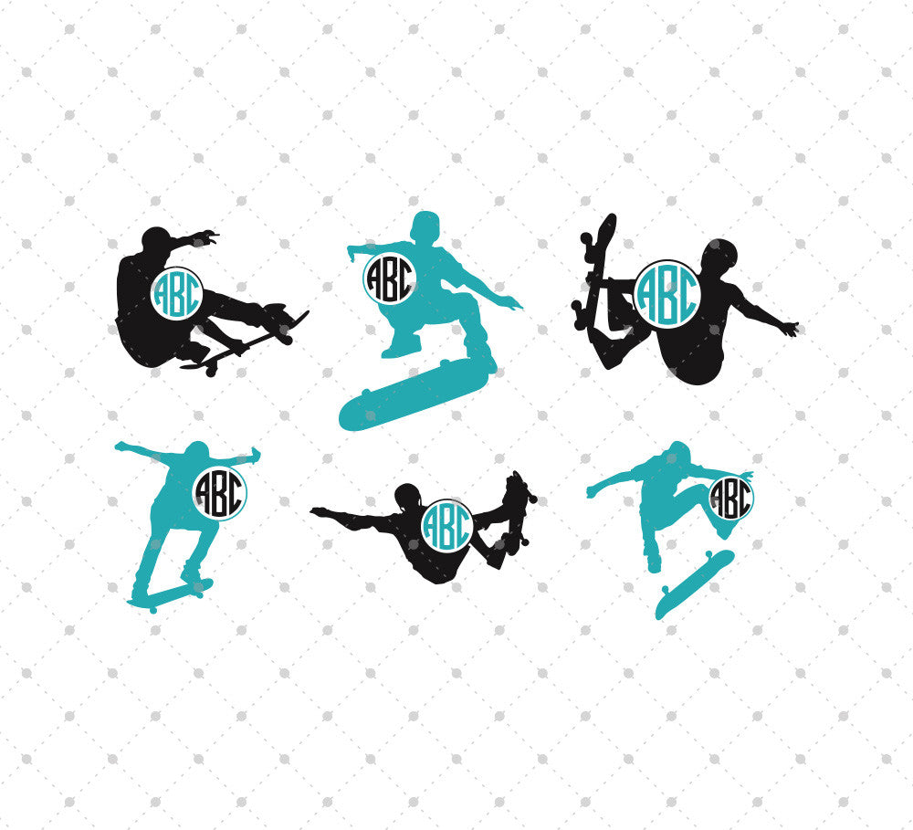 Skateboarding Monogram Frames SVG Cut Files for Cricut Silhouette printable png dxf clipart and free svg files by SVG Cut Studio