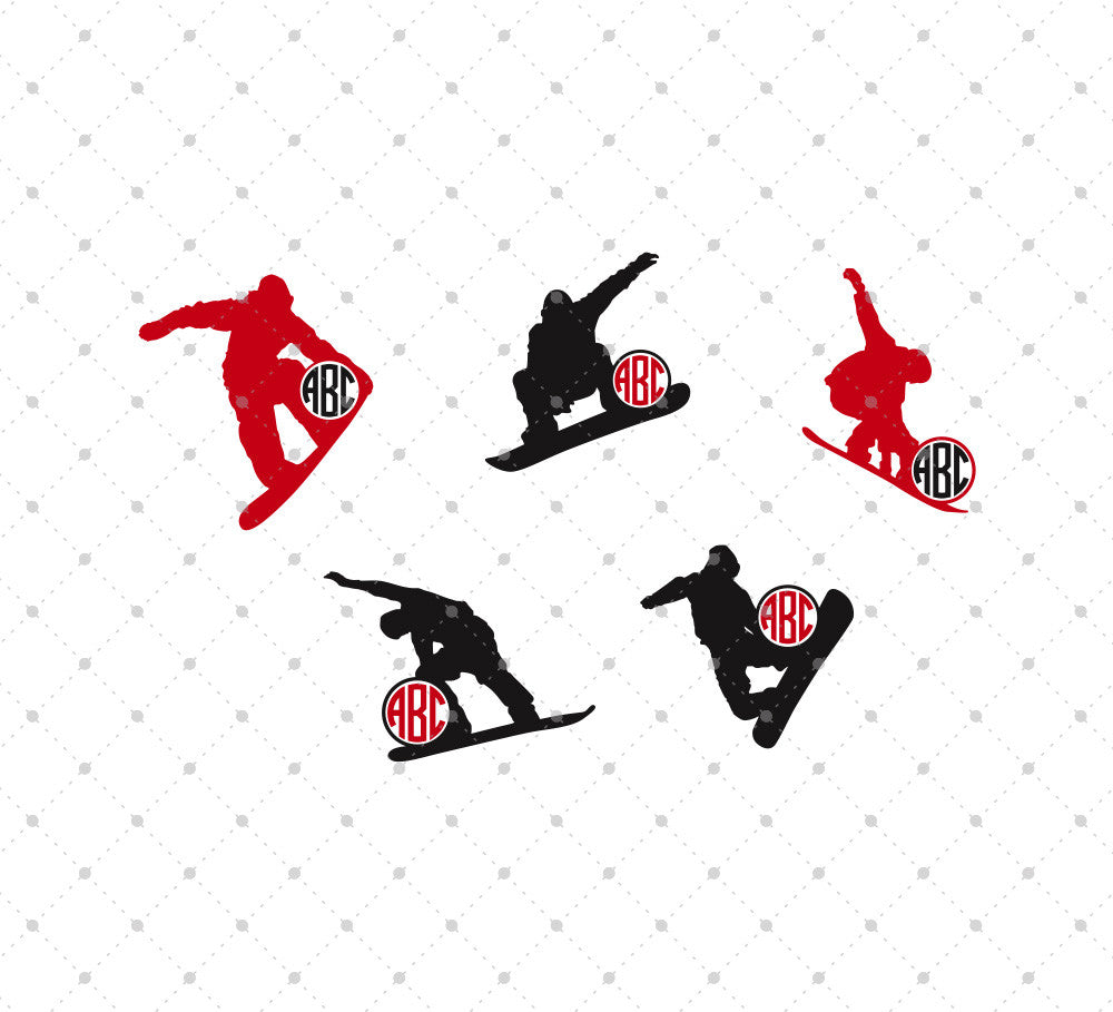 Snowboarding Monogram Frames SVG Cut Files - SVG DXF PNG cut cutting files for Cricut and Silhouette by SVG Cut Studio