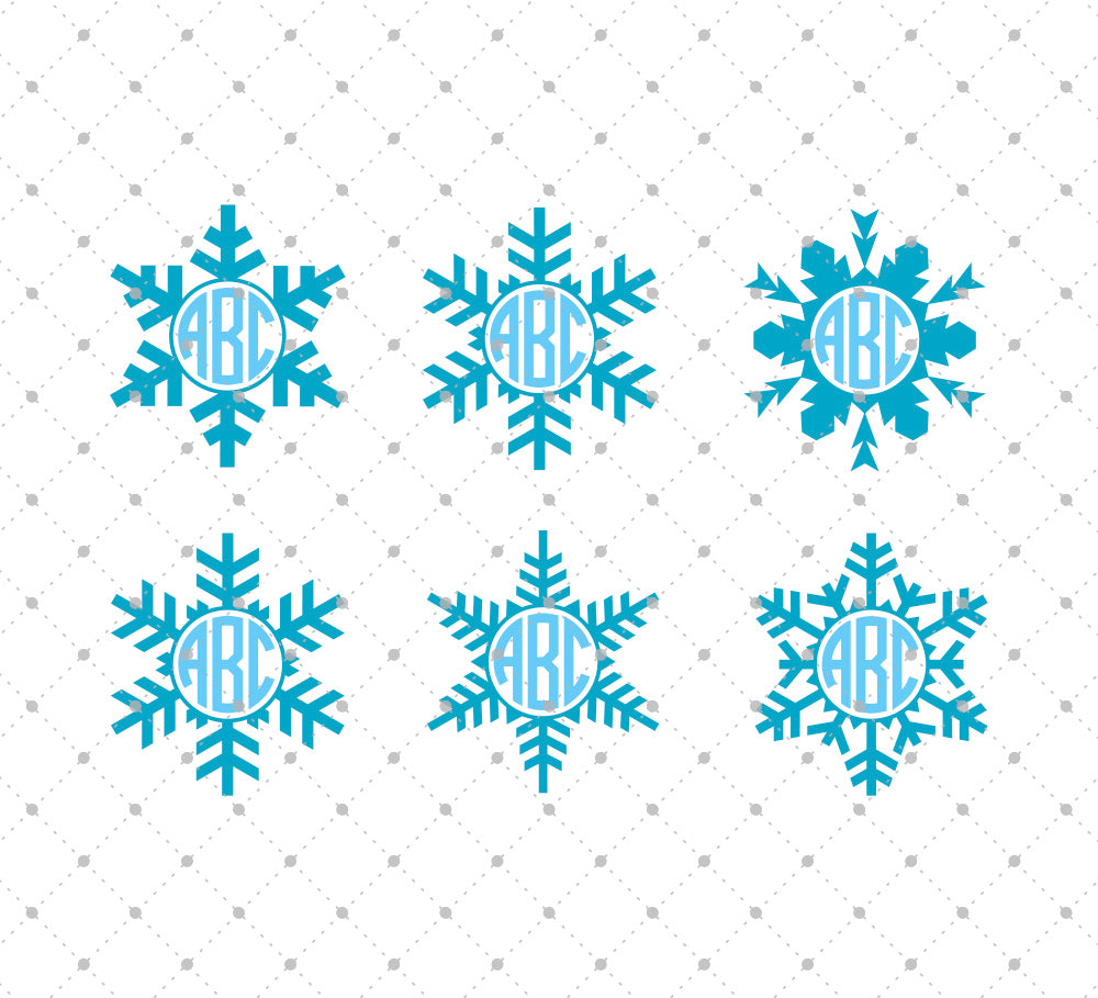 Christmas Snowflake Monogram Frames svg files