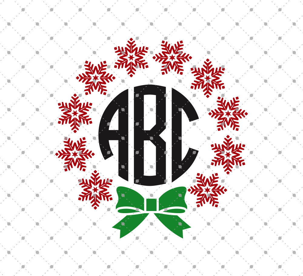 Christmas Snowflakes Monogram SVG Cut files D3 - SVG DXF PNG cut cutting files for Cricut and Silhouette by SVG Cut Studio